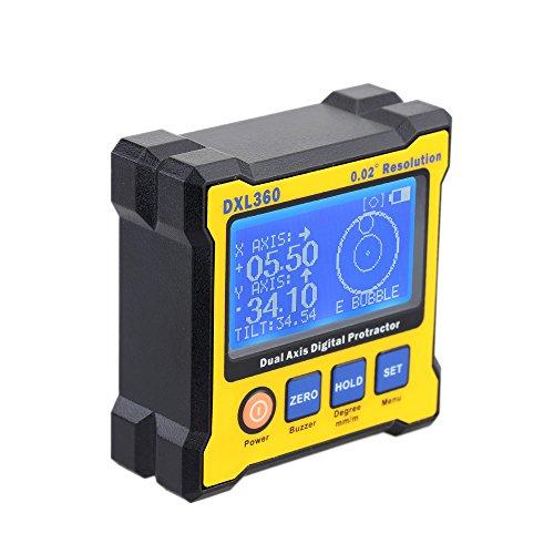 KKmoon Dxl360 Digitaler Winkelmesser der Zwei Achsen mit 5 Seiten Magnetfuß Hohe Präzision Doppel Achse Digital Display Level 100 - 240 V 50 - 60 Hz