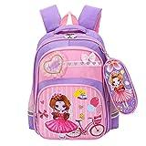 OPmeA Sacchetto di Scuola per Bambini della Scuola primaria Impermeabile Sacchetto di Scuola per Bambini della Scuola primaria Impermeabile con Zaino per Bambini (Colore : Purple)