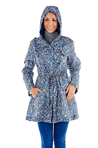 Ladies Hooded Festival Patterned Shower Proof Raincoat Coat Parka Jacket
