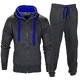 Ensemble de survêtement pour homme sweat à capuche en polaire haut contraste Femme Jogging Sport Survêtement pour homme moyen  - Charbon/Bleu