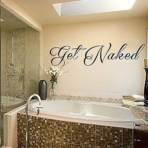 Vinilo adhesivo para pared decoración baño de Vinilo–Get Naked baño pared adhesivo baño pared D ¨ ¦ cor–adhesivo decorativo para pared de baño (azul marino, XL)