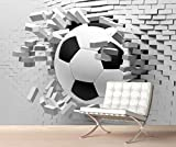 StickersWall Giant Football through the Wall Effect Wall Mural Photo Wallpaper Picture Self Adhesive 1100 ( 342cm(W) x 242cm(H))