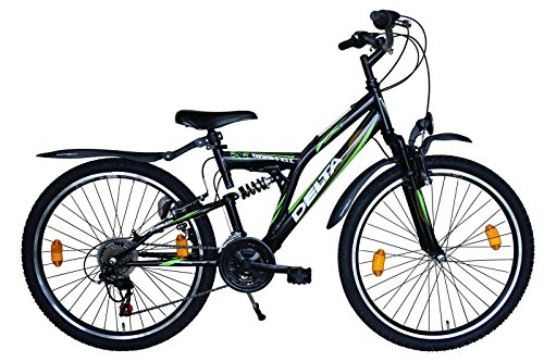"Delta Kinderfahrrad Mountainbike 26\"" 26 Zoll Shimano 18 Gang schwarz/Grün MTB STVO 505"