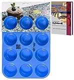 Kitchen Helpis Smarte Muffinform BPA-frei und antihaftbeschichtet | incl. Rezepte E-Book, Silikon Muffinform, 12er Muffinblech Silikon, Muffinform Silikon