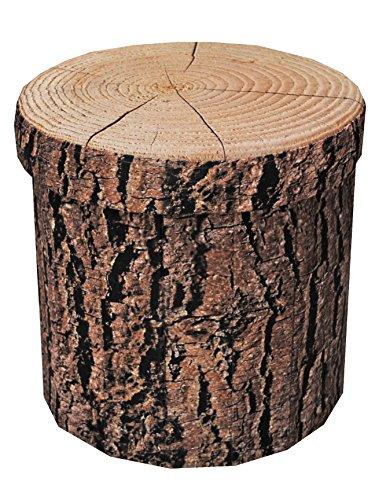 Sitzhocker Sitzwürfel Fußbank Aufbewahrungsbox Storagebox Baumrinde rund 38 cm faltbar