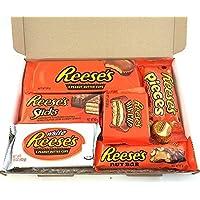 Coffret cadeau Reeses | Sélection chocolats beurre de cacahuètes | Assortiment inclut petites coupes au beurre de cacahuètes et noix | Boîte cadeau vintage de 7 pièces éligible envoi lettre