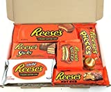 Reeses Geschenkkorb aus USA | Peanut Butter und Schokolade | Auswahl beinhaltet Peanut Butter Cups, Pieces, Nut Bars, Miniatures | 7 Produkte in einem kleinen retro Süßigkeitenkorb