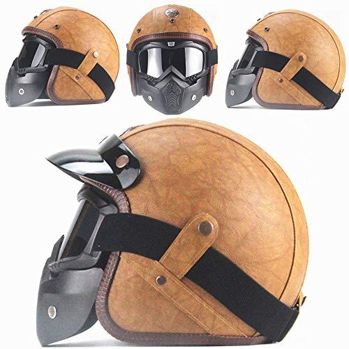 Motorrad Helm Reitbrille Brille Abnehmbare Maske Abnehmbare Anti-Fog-Warme Brille Einstellbare Anti-Rutsch-Gürtel Retro Harley Kugel Kampf Motocross,Beige,XXL