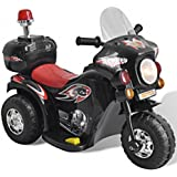Black Three Wheels Motorbike Toy Powered by Rechargeable Battery - Let Your Child Feels The Realistic Experience In Driving With Cool Sound Effects