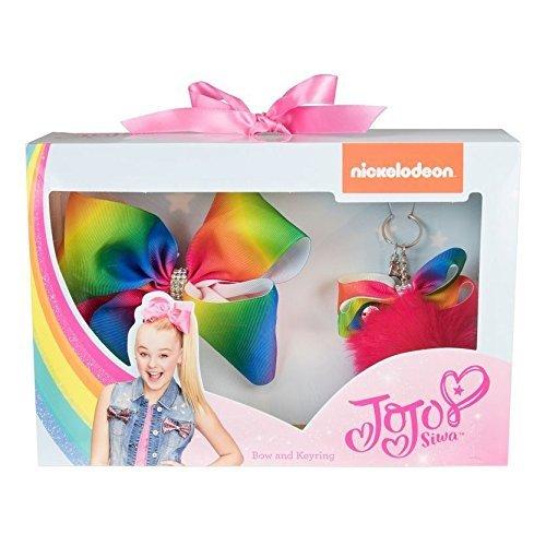 JoJo Siwa große Unterschrift Regenbogen Haarschleife Pompom Keyring Set Mädchen Mode