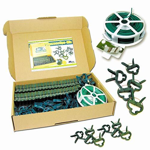MGS SHOP Pflanzen Clips & - Binder stabile Pflanzenclips Pflanzenklammern für kleine & große Triebe Spaliere Rosenbögen Rankhilfen (100er-Set Mixed + Draht 30m)