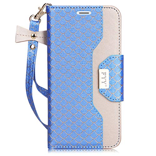 fyy iPhone 6S Plus Tasche, Premium PU Leder Geldbörse Fall mit Kosmetik Spiegel und Schleife Gurt für iPhone 6S Plus/6Plus, Z-Fish Scale-DodgerBlue (Iphone 6 Schleife Mit Fall)