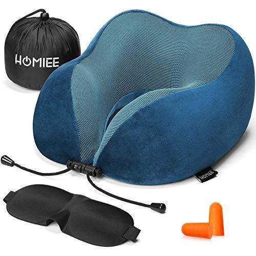 HOMIEE Reise Nackenkissen,Orthopädisches Nackenkissen, Schlafen Memory Foam Stoff Ergonomisches Nackenstützkissen für optimalen Komfort durch Beste Memory Foam Technologie (Blau)