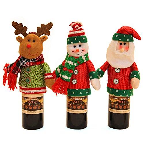 Mignon Weinflasche Deckel Geschenk Tasche Weihnachten Abendessen Tisch Dekoration Home Party Decor Weihnachtsmann/Schneemann/Wapiti, Père Noël+Snowman+Elk