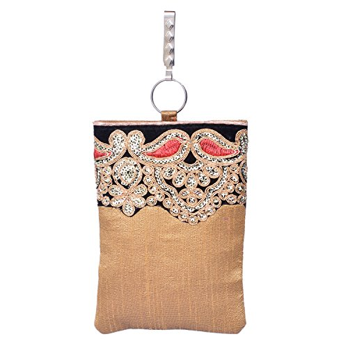 Bagaholics Ethnic Raw Silk Saree Clutch Waist Clip Sequin Ladies Purse Gift For Women ( Gold)