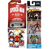 Marvel Nano Metalfigs Spider-Man, Black Costume Spider-Man, Spider-Gwen, Vulture & Green Goblin 1.5-Inch Diecast Figure 5-Pack + Blind Bag Keyring & Hot Wheels Homecoming Exclusive Chase Car