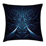 case YLIOWRC Fractal Throw Pillow Cushion Cover, Abstract Spooky Hollow with Dynamic Line Effects Creative Modern Computer Art Pattern, Decorative Square Accent Pillow Case, 18 X 18 inches, Blue