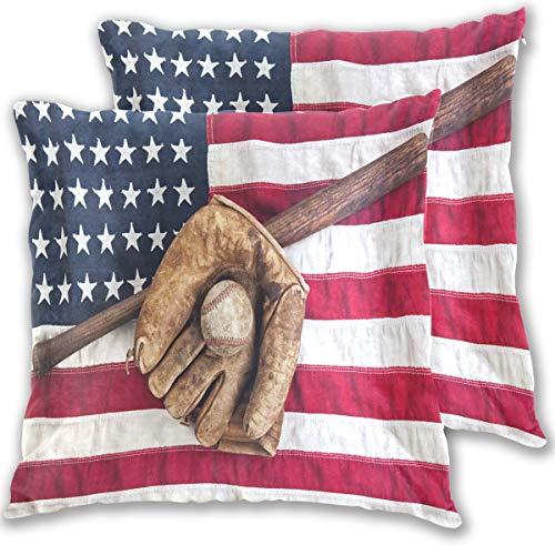 Wamika Vintage Baseballschläger-Handschuh und auf USA-Flagge, dekorative Baumwollleinen, Kissenbezug Kissenbezug für Couch Sofa, Bett, 40,6 x 40,6 cm, 2 Stück, Baumwolle, Multi, 16x16