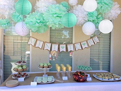 Sogorge Partydekorationsset, Weiß, Minzgrün, Seidenpapier, Pompons, Blumen, Papier, Laternen, Geburtstag, Hochzeit, Taufe, Frozen, Party-Dekorationen für Erwachsene Jungen Mädchen
