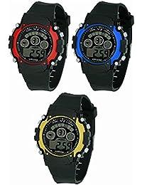 Maan International Combo-3 Sport Black Dial Seven-Light Digital Kids Watch Sport-0301