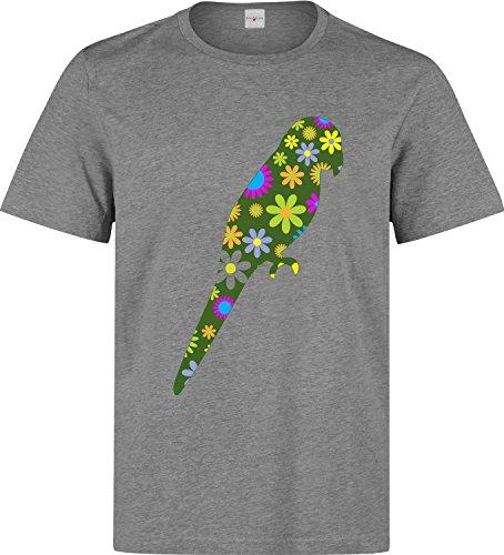 Funky retro floral bird Herren baumwolle t-shirt Grau