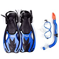 Two Bare Feet Mask, Snorkel & Fins/Flippers PVC Diving Set (Kids) - Scuba Dive Snorkelling Sets