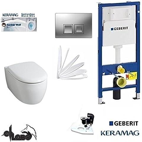 Geberit Duofix, Keramag Icon XS inodoro cisterna. Los Juego completo + Tapa descenso automático, Kera–tect chapado, pulsador de placa cromo rectangular