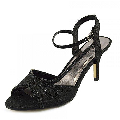 Kick Footwear - Donna Tacco da Sposa Sandali con Fibbia Cinturino alla Caviglia Scarpe Nero