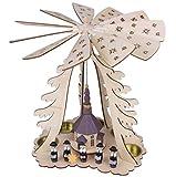 Weihnachtspyramide Weihnachtsdeko Kerzen Sternsinger Deko 3-stöckig Holz H=44,5cm