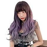 KX-QIN Explosion perruque femelle grosse vague dégradé cheveux longs et bouclés...