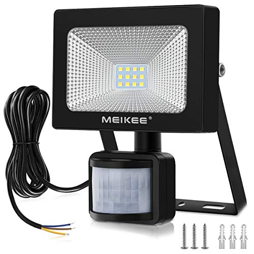 MEIKEE 10W Foco LED con Sensor Movimiento 1000LM, Mejoradoluz Foco LED Solar Exterior, Impermeable IP66...