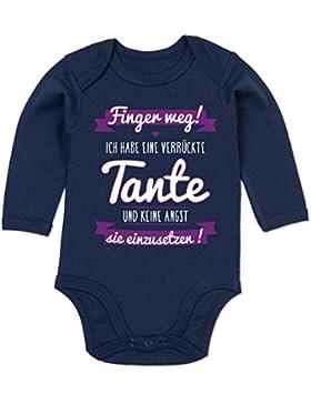Shirtracer Sprüche Baby - Ich habe eine verrückte Tante Lila - Baby Strampler aus organischer Baumwolle für Mädchen...