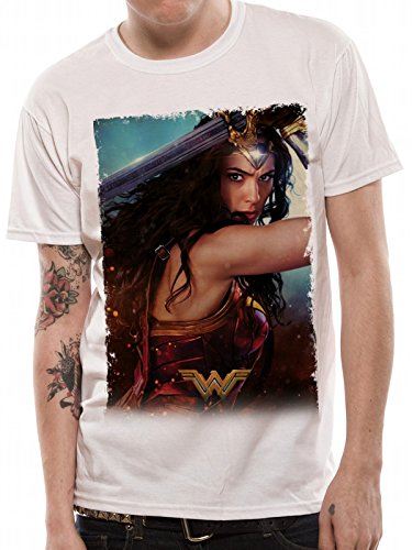 Wonder Woman Movie-Poster, Camiseta para Hombre, Blanco White, Small