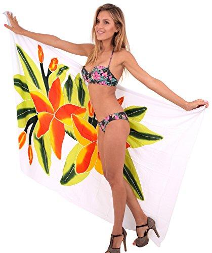 La gonna bikini costumi da bagno Leela morbido insabbiamento rayon involucro di ibisco sarong 78x43inch Giallo Cadmio