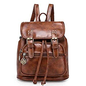 51KPRS79y4L. SS300  - TIBES cuero grande PU del morral mochila estudiantil mochila casual mochila mujer B marrón