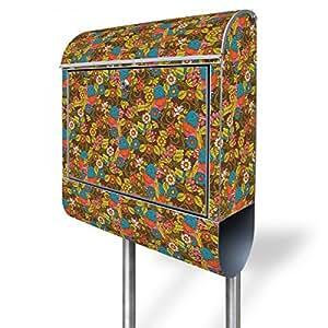 banjado - Briefkasten mit Edelstahl Ständer 38x150x12cm Postkasten mit Motiv Getarnter Vogel