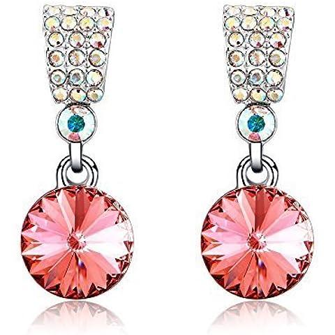Di alta qualità, con cristallo austriaco con cristalli SWAROVSKI ELEMENTS-Orecchini pendenti da donna - Collana Diamante Brillante Ciondolo Pendente Collana