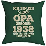 Opa Sprüche-Kissen zum 80 Geburtstag - Geschenk-Idee Dekokissen Jahrgang 1938 : ...super Opa geboren 1938 -- Geburtstag 80 Kissen Farbe: dunkelgrün