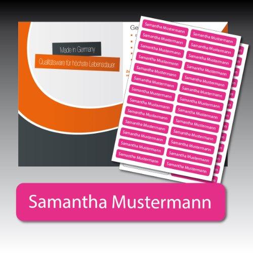 128 gedruckte, selbstklebende Namen-Etiketten - pink, Schrift weiss - 6 mm x 35 mm (max. 25 Zeichen) - in Industriequalität - von Luminess - Made in Germany