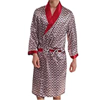 Zimaes Mens Summer Graffiti Print Plus Size Long-sleeve Silk Gown 3 4XL