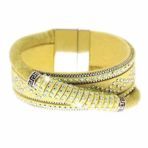 Sweet Deluxe Armband Marisol, gelb/Silber/Crystal I ausgefallenes Bracelet für Damen & Mädchen I individueller Frauen-Armschmuck I Mode-Schmuck Accessoires