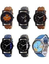 NEUTRON Classical 3D Design Guitar Earth Black Blue And Brown Color 6 Watch Combo (B34-B35-B36-B37-B38-B64) For...