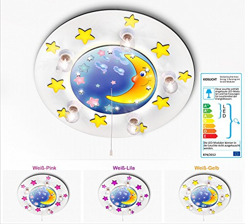KINDERLAMPE DECKENLAMPE mit Indirekte LED Nachtlicht. Mond und Sternchen 034-2-W