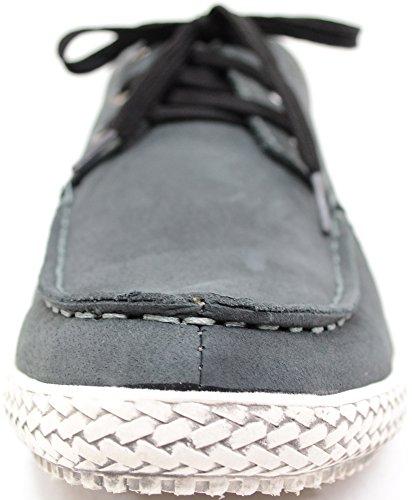 Casual à lacets en daim pour homme en cuir véritable d'été/vacances bateau/DECK Chaussures Gris - gris