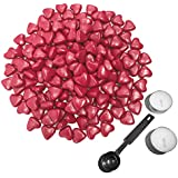 Sealing Wax Beads, Botokon 150 Pieces Heart Shape Wax Seal Beads Kit with a Wax Melting Spoon and 2 Pieces Candles for Wax Seal Stamp (Wine Red)