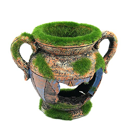 Demiawaking Vase Harz Aquarium mit Moos Ornament Dekoration für Garnelen Aquarium L
