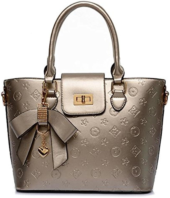 Geprägte Handtaschen Lackleder Umhängetasche Metall Anhänger Reine Farbe Glossy Umhängetasche Damen Pendeln Businessö