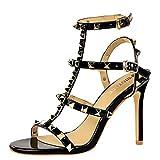 YE Damen High Heels Stiletto T Spangen Sandalen mit Nieten Ankle Strap Sandaletten 10cm Absatz Party Schuhe