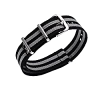 BuyingJewelry 18mm Women Man Balck-Grey Nylon Nato Sport WatchStraps Watch Band Strap with Stainless Buckle