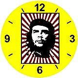 """Glasuhr Ø 30cm """"CHE- GUEVARA- ROT- SILHOUETTE- STREIFEN- REVOLUTION"""" in Gelb - aus Glas- Wand Uhr- Regaluhr- Bestseller- Spass- Kult- Motiv Geschenkidee Ostern Weihnachten"""